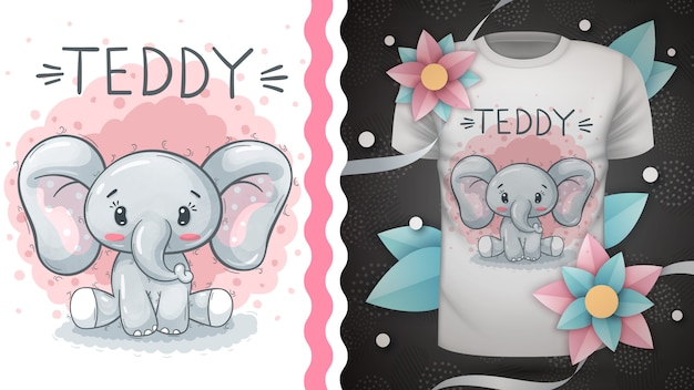 Elefante de pelúcia - idéia para impressão de t-shirt.
