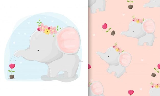 Elefante desenhado de giro de mão plantando amor com conjunto padrão sem emenda