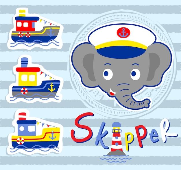 Elefante do capitão com barcos