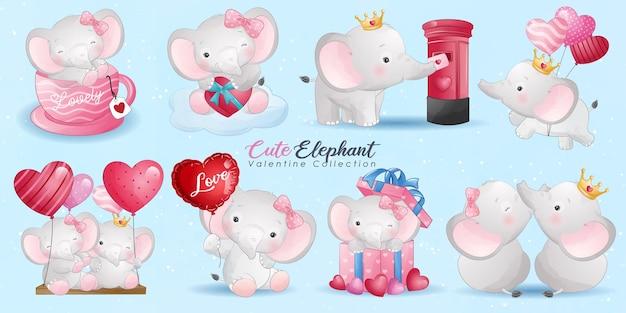 Elefante doodle fofo com coleção de poses