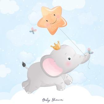 Elefante doodle fofo com ilustração de estrela