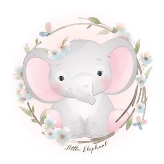 Elefante doodle fofo com ilustração floral