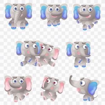Elefante dos desenhos animados com diferentes poses e expressões.