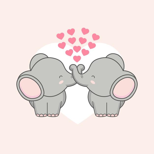 Elefante dos pares com corações cor-de-rosa para o dia de valentim.
