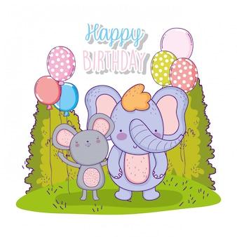 Elefante e coala feliz aniversário com balões