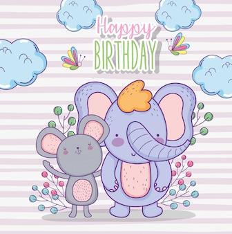 Elefante e coala feliz aniversário com nuvens e plantas