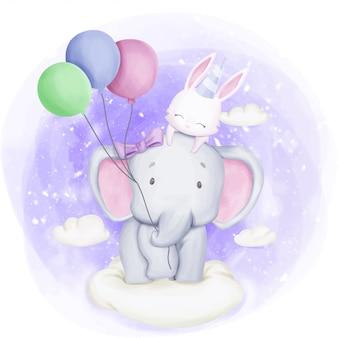 Elefante e coelho comemoram aniversário