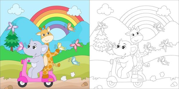 Elefante e girafa colorindo