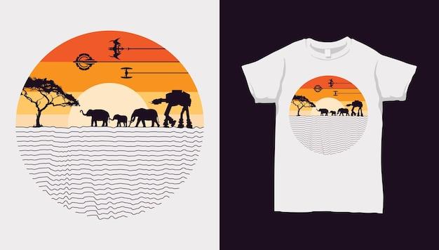 Elefante e robô caminham ao pôr do sol com design de camiseta
