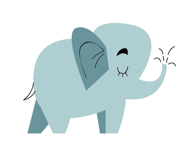 Elefante engraçado infantil estilo desenho animado ilustração vetorial plana em cores brilhantes isoladas
