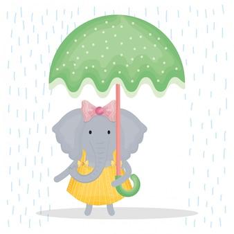 Elefante fêmea bonito com caráter de guarda-chuva