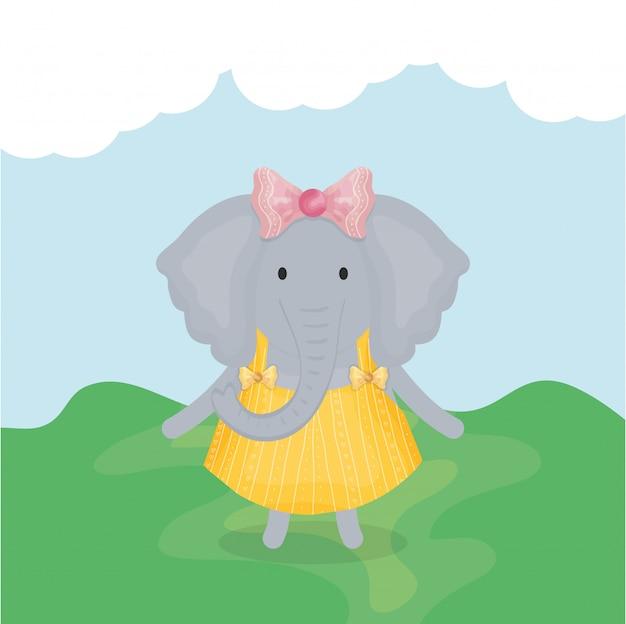 Elefante fêmea bonito com caráter de roupas