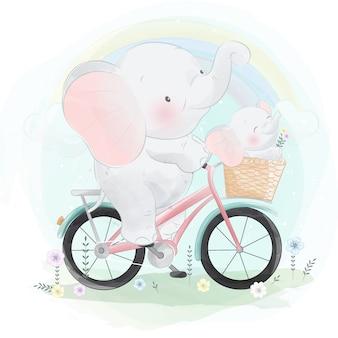 Elefante fofo andando de bicicleta com um pequeno elefante
