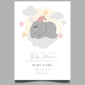 Elefante fofo bebê chuveiro convite recém-nascido modelo editável
