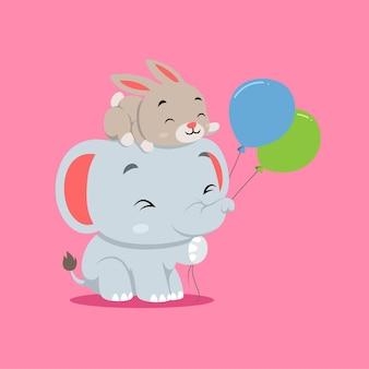 Elefante fofo brincando com dois balões e coelho na cabeça