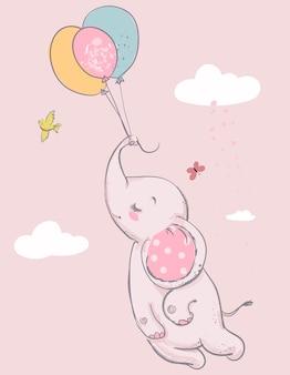 Elefante fofo com balões e pássaros. ilustração vetorial