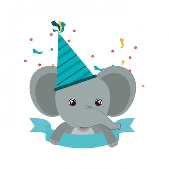 Elefante fofo com chapéu de festa