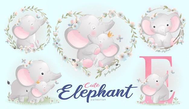 Elefante fofo com conjunto de ilustração em aquarela