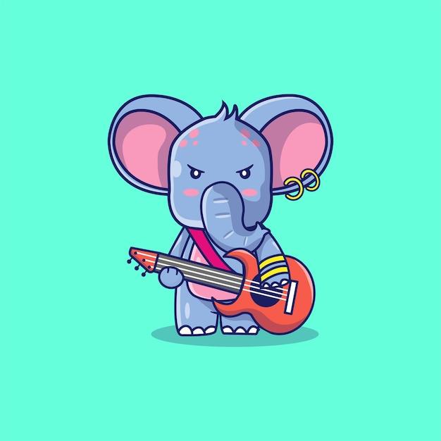 Elefante fofo com ilustração de desenho de guitarra
