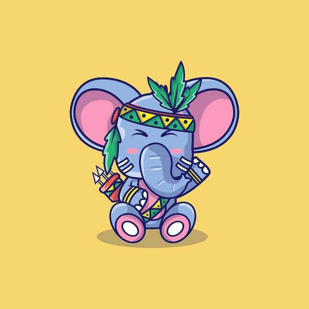 Elefante fofo com ilustração dos desenhos animados de penas