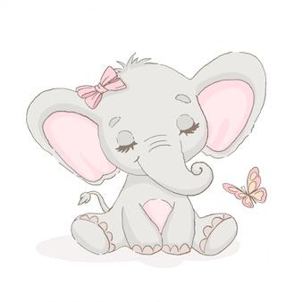 Elefante fofo com uma borboleta