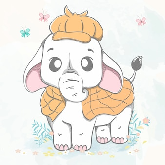 Elefante fofo como detetive cartoon mão desenhada