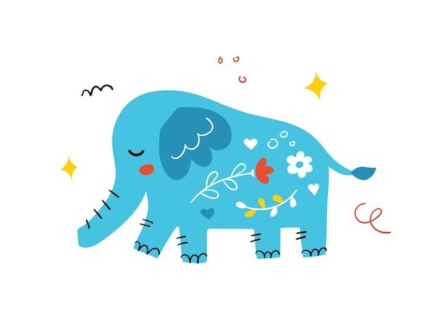 Elefante fofo desenhado de mão. animal dos desenhos animados em estilo escandinavo. ilustração vetorial.