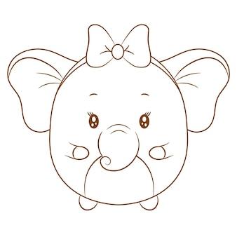 Elefante fofo desenhando esboço para colorir com lindo laço