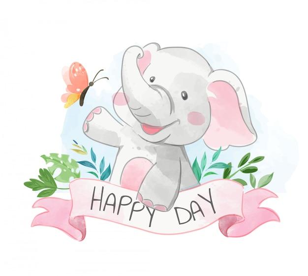 Elefante fofo e borboleta com dia feliz assinam ilustração