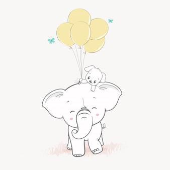 Elefante fofo e cachorro fofo com balões