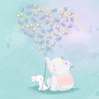 Elefante fofo e coelho segurando uma borboleta de forma de amor