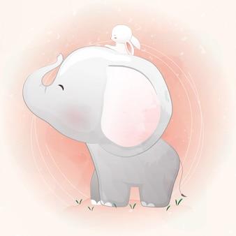 Elefante fofo e coelho