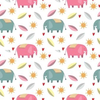Elefante fofo e folha sem costura padrão / fundo