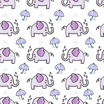 Elefante fofo e guarda-chuva sem costura padrão