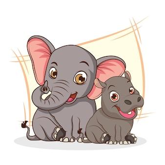 Elefante fofo e hipopótamo personagem de desenho animado