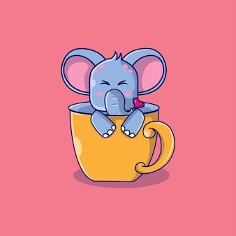Elefante fofo em uma ilustração dos desenhos animados de uma xícara de chá