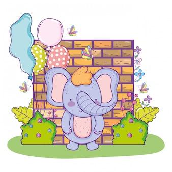 Elefante fofo feliz aniversário com balões