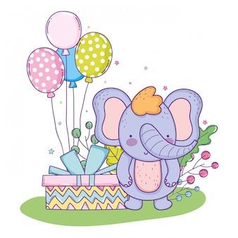 Elefante fofo feliz aniversário com presente presente e balões