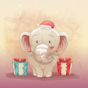 Elefante fofo feliz em receber um presente de natal