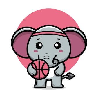 Elefante fofo jogar basquete ilustração vetorial de desenho animado