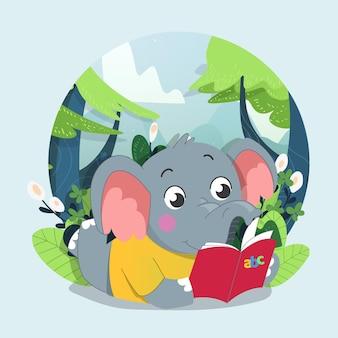 Elefante fofo lendo um livro com fundo verde da floresta