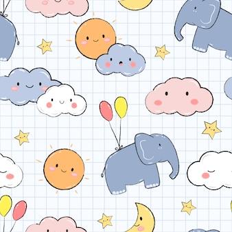 Elefante fofo no céu dos desenhos animados doodle padrão sem emenda