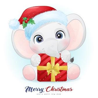 Elefante fofo no dia de natal com ilustração em aquarela