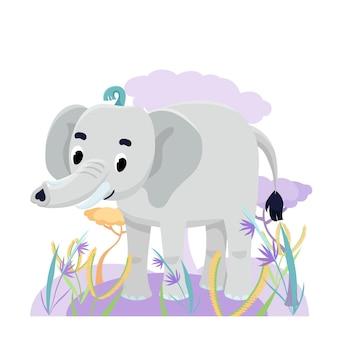 Elefante fofo no savanna com flores e grama em fundo branco. ilustração vetorial