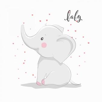 Elefante fofo para cartão de desgaste e convite de bebê.