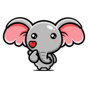 Elefante fofo posando com o dedo amor
