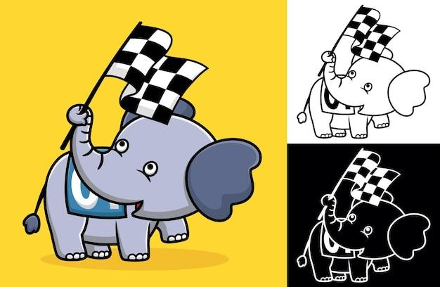 Elefante fofo segurando a bandeira de acabamento com sua tromba. ilustração de desenho vetorial no estilo de ícone plano