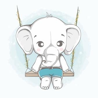 Elefante fofo sentado no balanço dos desenhos animados mão desenhada