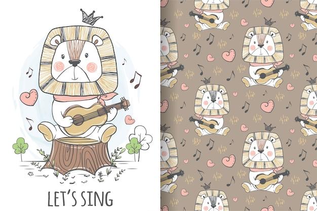 Elefante fofo tocando guitarra, ilustrações e padrões desenhados à mão