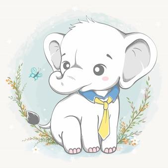 Elefante fofo usar gravata mão de desenhos animados desenhada